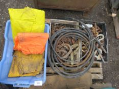 PALLET CONTAINING CHAINS, SHACKLES AND A BOX OF WET WEATHER GEAR.