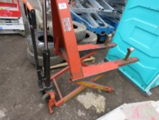 BT HIGH LIFT PALLET TRUCK. WHEN TESTED WAS SEEN TO LIFT AND LOWER.