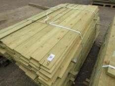 LARGE PACK OF TREATED FEATHER EDGE FENCE CLADDING TIMBER, 1.80M LENGTH X 10CM APPROX.