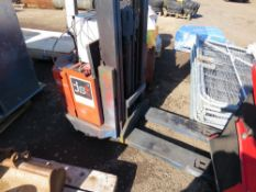 BATTERY POWERED PEDESTRIAN FORKLIFT WITH CHARGER. SURPLUS TO REQUIREMENTS.