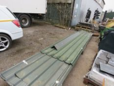 PACK OF PRE USED GREEN BOX PROFILE ROOF SHEETS. 20NO IN TOTAL APPROX PLUS RIDGE CAPS. 15 X 6M PLUS 5