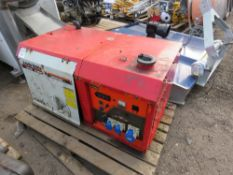 KUBOTA LOWBOY DIESEL GENERATOR, 240VOLT OUTLETS. BATTERY LOW. ENGINE WAS SEEN TO RUN BUT OUTPUT WAS