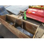 HYDRAULIC ANGLE ADJUSTING/TILTING GRADING BUCKET ON 80MM PINS, 7FT WIDTH APPROXIMATELY. WORKING WHE
