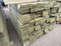 LARGE PACK FLAT MACHINED FINISH CLADDING TIMBER BOARDS 1.74M X 9.5CM APPROX, PRESSURE TREATED.