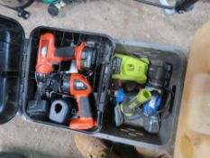 BOX OF BATTERY DRILLS/TOOLS INCLUDING BLACK & DECKER BATTERY DRILL.