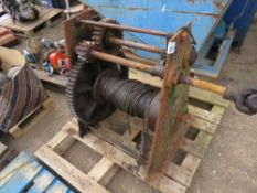 LARGE HAND OPERATED WINCH WITH PTO SHAFT AS WELL.