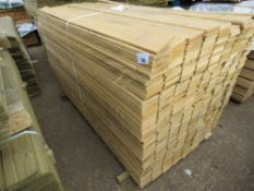 LARGE PACK OF FLAT UNMACHINED FINISH CLADDING TIMBER BOARDS 1.75M X 10CM APPROX, UNTREATED.