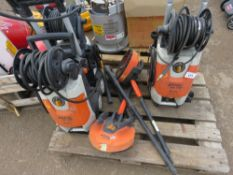 3 X STIHL PRESSURE WASHERS WITH PATIO WASH HEADS. CONDITION UNKNOWN.