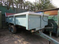 SALOP S200 TWIN AXLED HEAVY DUTY FARM TIPPING TRAILER. GROSS 12500KG. GRAIN CHUTE ON TAILBOARD.