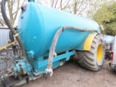 LARGE CAPACITY AGRICULTURAL SLURRY TANKER. CONVERTED FOR HYDRAULIC OPERATION. RETIREMENT SALE.