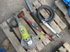 240VOLT ANGLE GRINDER, AIR SCABBLER AND AIR POKER.