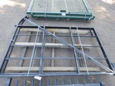 2 X BLACK ESTATE/PARK METAL GATES 1.7M HIGH, 2.1M WIDE EACH. PALLET G.