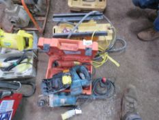 4 ITEMS: STEAM STRIPPER, GRINDER, MULTITOOL & BATTERY DRILL. CONDITION UNKNOWN.