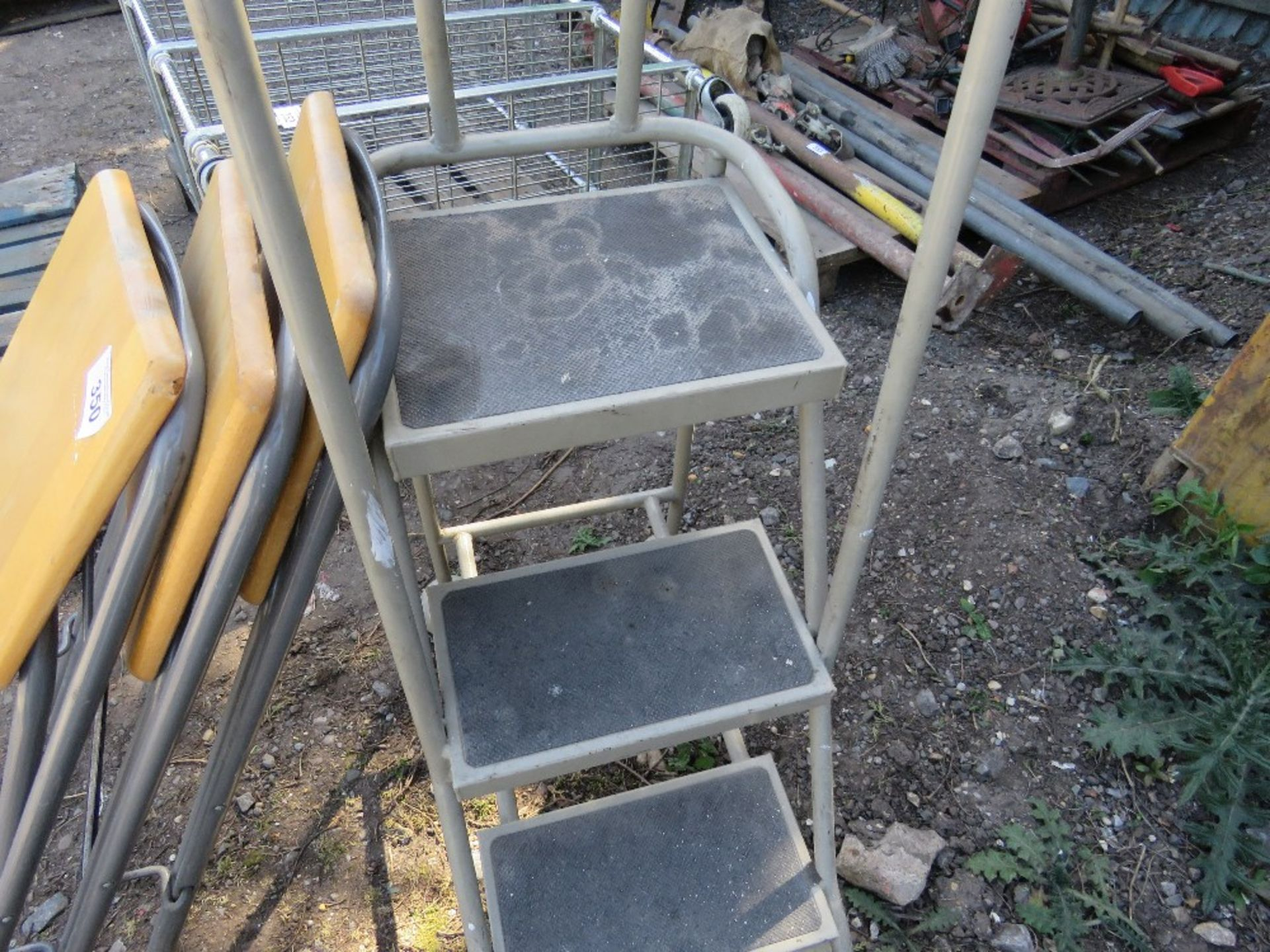 3 X STOOLS PLUS A SET OF LIBRARY STEPS.