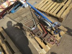 PALLET CONTAINING 2 X PIPE STANDS PLUS A PIPE BENDER.