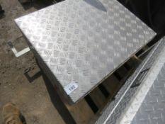 ALUMINIUM CHEQUER PLATE TOOL BOX, 76CM X 61CM X 30CM HEIGHT APPROX.