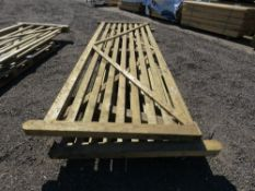 2 X WOODEN FIELD GATES, 3.6M WIDTH APPROX.(ONE HAS A DAMAGED SIDE RAIL AT THE BOTTOM)