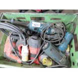 BOX OF ASSORTED POWER TOOLS.