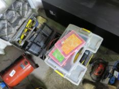 10 X BOXES CONTAINING TOOLS, FIXINGS AND SUNDRIES.
