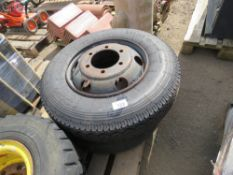 2 X FORD CARGO WHEELS AND TYRES 8.5R17.5, ONE APPEARS LITTLE USED.