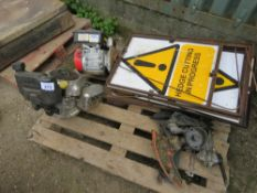 PALLET CONTAINING 2 X ENGINES, SPARES AND HEDGE CUTTING IN PROGRESS SIGNS.