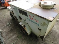 4 WHEELED WASTE OIL COLLECTION TRAILER, PREVIOUSLY USED AT MAJOR AIRPORT. WITH SOME CONTENTS.