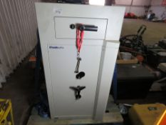 LARGE SIZED CASH DROP SAFE WITH KEY. DIRECT FROM COMPANY LIQUIDATION.