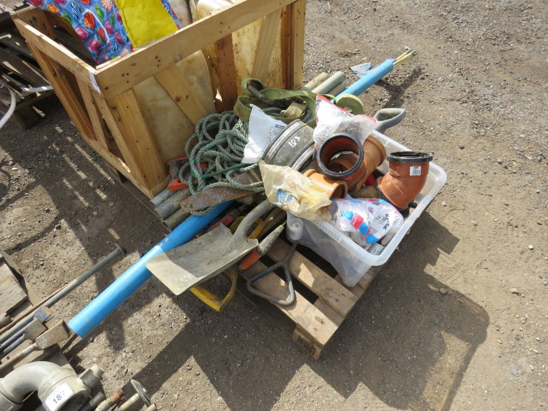 PALLET CONTAINING TOOLS, INCLUDING WET CUT BOTTLES, TOOLS, CABLE RODS ETC.