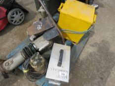 PALLET CONTAINING RAMMER, SUB PUMP, STRIPPER AND A TRANSFORMER. CONDITION UNKNOWN.