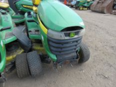 JOHN DEERE X320 PROFESSIONAL RIDE ON PETROL MOWER. PREVIOUS COUNCIL USEAGE. STRAIGHT FROM STORAGE,