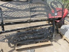 2 X HEAVY DUTY LASER CUT DECORATIVE STEEL BENCHES DEPICTING SWANS. NEVER INSTALLED. 2M WIDE APPROX.