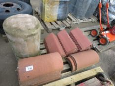 PALLET CONTAINING ASSORTED RIDGE TILES PLUS A GULLEY POT.