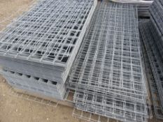 """PALLET CONTAINING APPROXIMATELY 200 X SQUARE MESH PANELS. 54CM X 137CM APPROX, 3"""" SQUARE HOLES."""