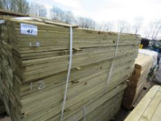 LARGE PACK OF FEATHER EDGE CLADDING TIMBER 1.8M X 10CM APPROX, PRESSURE TREATED.