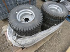 SET OF 4 X RIDE ON TRACTOR/MOWER WHEELS AND TYRES, TORO TYPE.