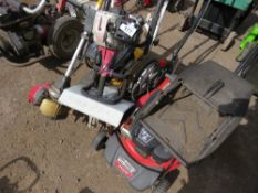WHEELD STRIMMER, HONDA STRIMMER, SMALL ROTORVATOR PLUS A MOWER. CONDITION UNKNOWN.
