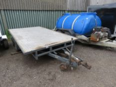 TWIN AXLED PLANT TRAILER, 3.6M LENGTH X 2M WIDTH APPROX. NO VAT ON HAMMER PRICE.