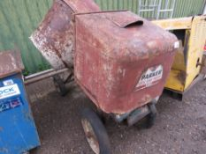 PARKER DIESEL ENGINED SITE MIXER WITH HANDLE. WHEN TESTED WAS SEEN TO RUN AND DRUM TURNED.