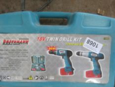 TWIN BATTERY DRILL SET, LITTLE USED