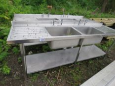 2 X LARGE TWIN BOWL CATERING SINKS WITH TAPS.. NO VAT ON HAMMER PRICE.