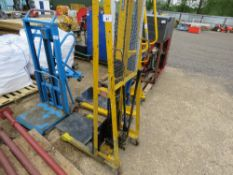 COOLIE 448LBS RATED HAND OPERATED FORKLIFT WITH FLAT BED. WHEN TESTED WAS SEEN TO LIFT AND LOWER. DI