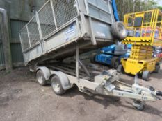 IFOR WILLIAMS 2CBTT3017 TWIN AXLED TIPPING TRAILER. SN:SCKD00000F0668899. HYDRAULIC TIPPING. MESH CA
