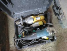 DEWALT DRILL AND A MAKITA GRINDER, 110VOLT.UNTESTED, CONDITION UNKNOWN.