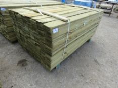 LARGE PACK OF TREATED FEATHER EDGE TIMBER CLADDING 1.65M X 10CM APPROX.