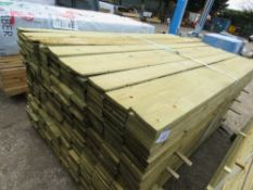 LARGE PACK OF TREATED FEATHER EDGE TIMBER CLADDING 1.79M X 10CM APPROX.