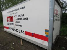 BOX BODY FROM 7.5TONNE LORRY, 20FT LENGTH WITH REAR ROLLER SHUTTER. RECENTLY REMOVED.
