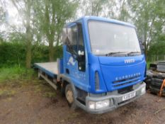 FORD EUROCARGO 75E17 BEAVERTAIL PLANT LORRY REG:YJ06 AOC. WITH V5, TEST RECENTLY EXPIRED.