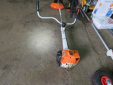 STIHL TS400 PETROL BRUSH CUTTER WITH A BLADE. HANDLEBAR FIXING NEEDS ATTENTION. SOLD AS UNTESTED.