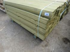 LARGE PACK OF TREATED HIT AND MISS TIMBER CLADDING 1.74M X 9.5CM APPROX.