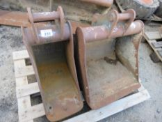 """2 X EXCAVATOR BUCKETS ON 35MM PINS. 12"""" AND 2FT WIDTH."""